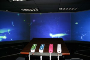 WiiMotes and the project on a 24-ft screen