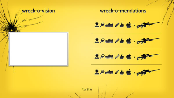 Twake wreck-o-mendation screen design