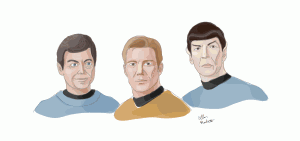 Kirk, Spock, and McCoy